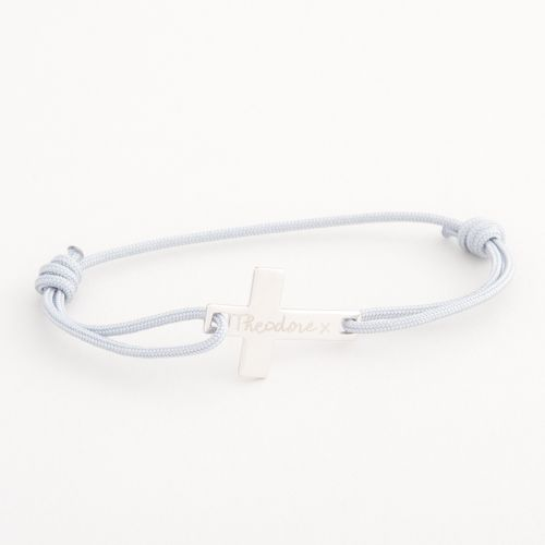 Personalised Merci Maman Children's Silver Flat Cross Bracelet