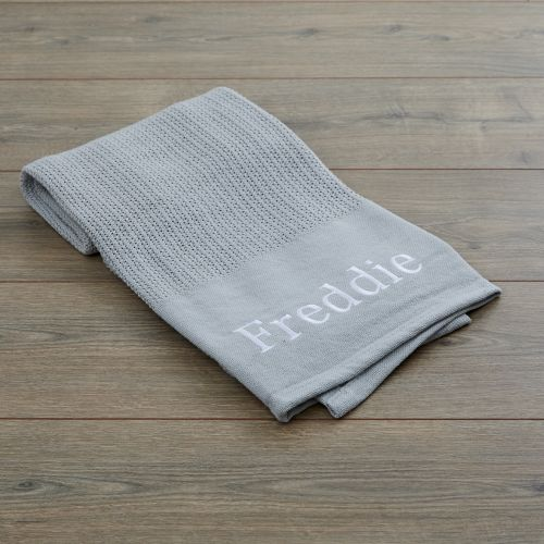 Personalised Grey Cellular Blanket