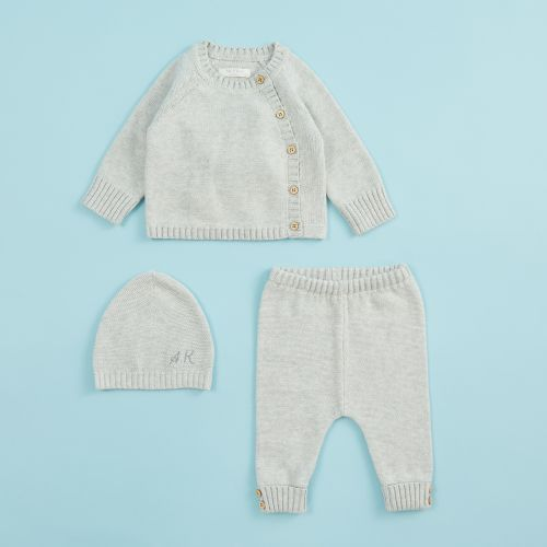 Personalised Grey Knitted Baby Outfit Set (3 piece)