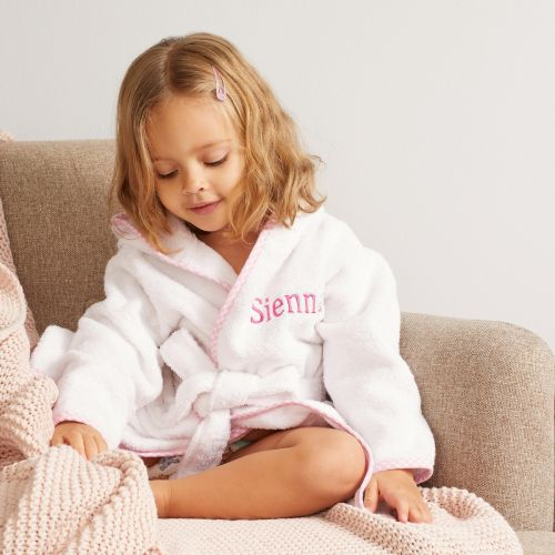 Personalised Pink Trim Gingham Robe