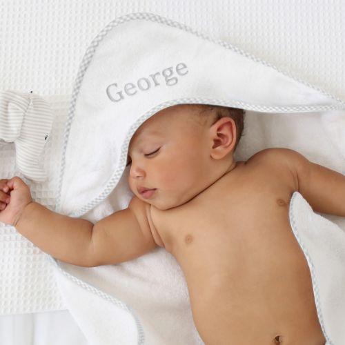 Personalised Grey Gingham Hooded Towel