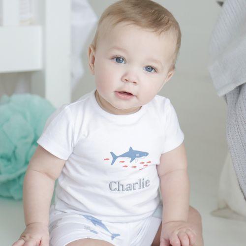 Personalised Shark Print Shorts & T-shirt Set