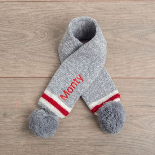 Personalised Grey and Red Pet Pom-pom Scarf - Main