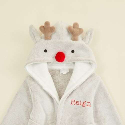 Personalised Reindeer Robe with Red Nose