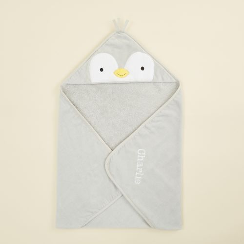 Personalised Grey Penguin Hooded Towe