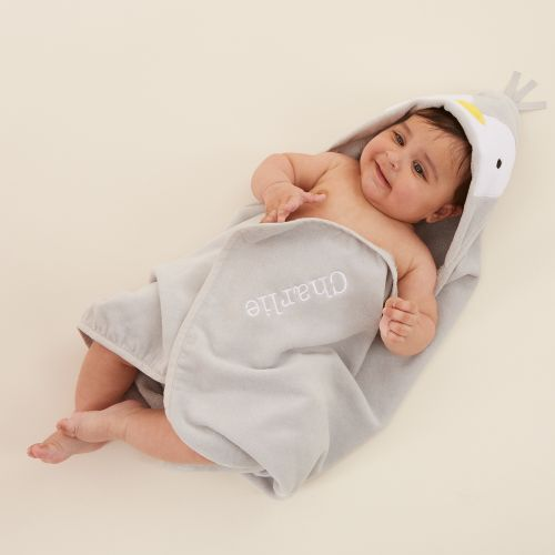 Personalised Grey Penguin Hooded Towel Model
