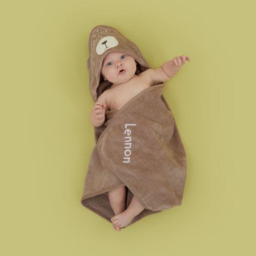 Personalised Bear Hooded Towel Model