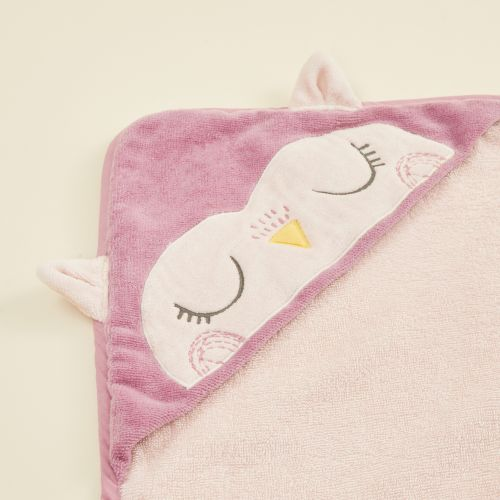 Personalised Pink Owl Hooded Towel