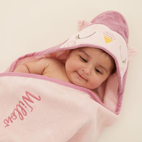 Personalised Pink Owl Hooded Towel Model 1