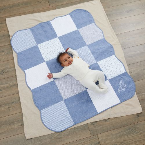 Personalised Blue Patchwork Quilt Model