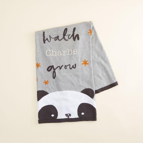 Personalised Panda Print Organic Blanket