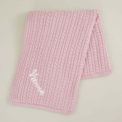 Personalised Pink Fur Lined Cable Knit Blanket