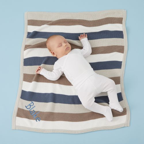 Personalised Blue Stripe Knitted Blanket Model