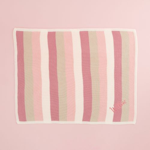 Personalised Pink Stripe Knitted Blanket