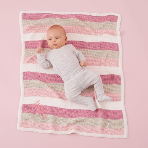 Personalised Pink Stripe Knitted Blanket Model