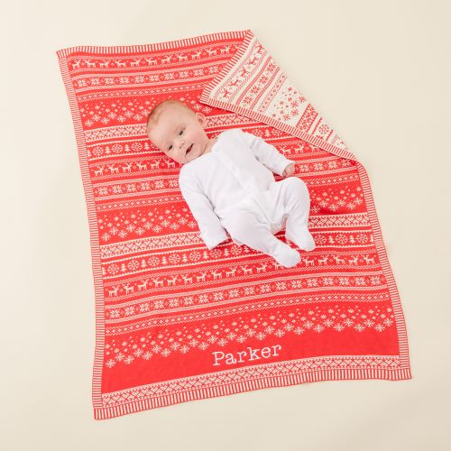 Personalised Red Fairisle Christmas Blanket Model