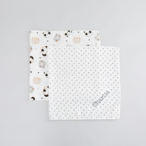 Personalised Monochrome Bamboo Muslin Swaddle Blankets (2pk)
