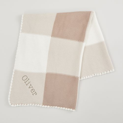Personalised Neutral Knitted Patchwork Blanket