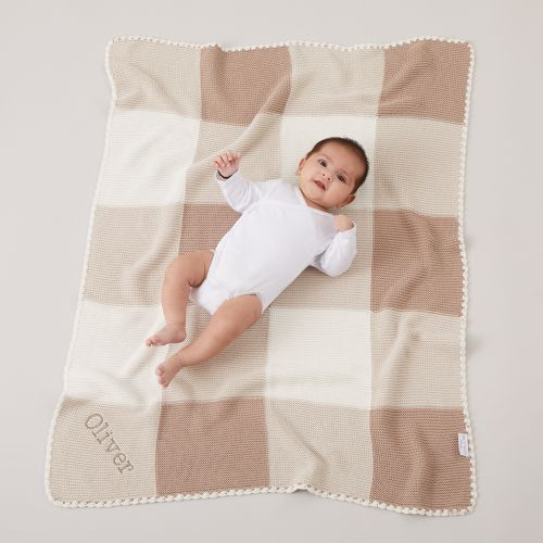 Personalised Neutral Knitted Patchwork Blanket Model
