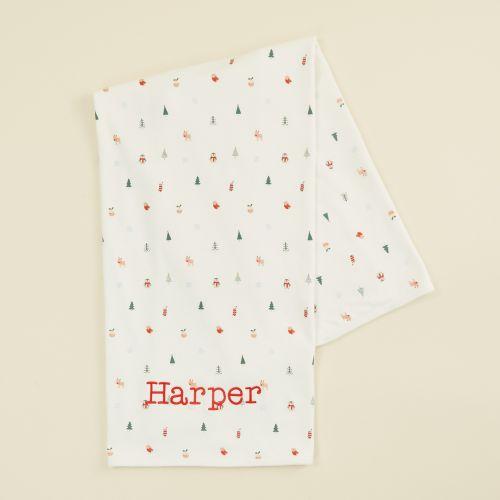 Personalised Christmas Print Organic Jersey Blanket