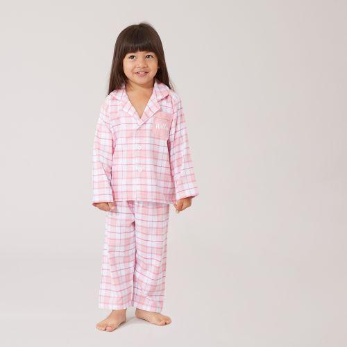 Personalised Traditional Pink Check Pyjamas