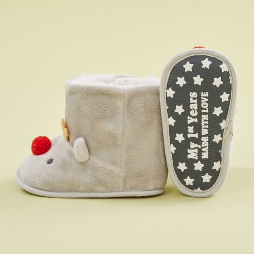 Personalised Brown Reindeer Booties