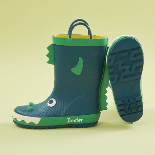 Personalised Blue Monster Wellies