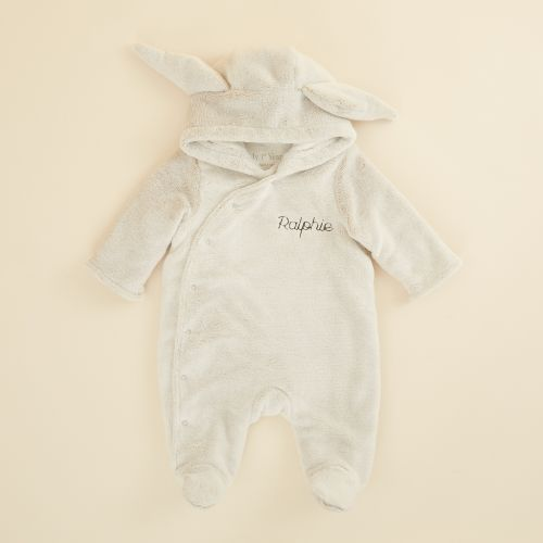 Personalised Grey Bunny Faux Fur Lined Knitted Pramsuit