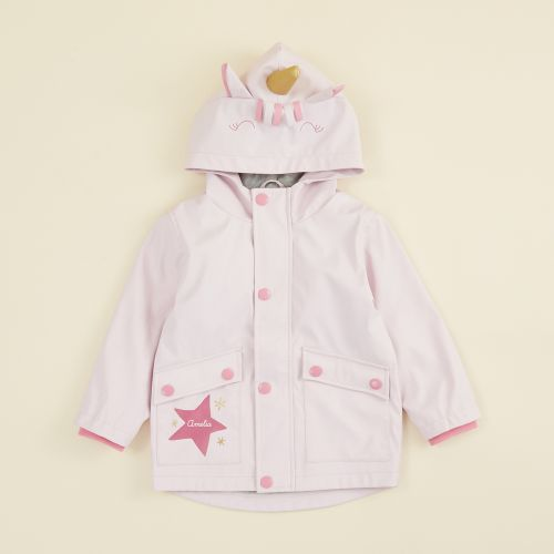 Personalised Unicorn Fleece Lined Rain Jacket