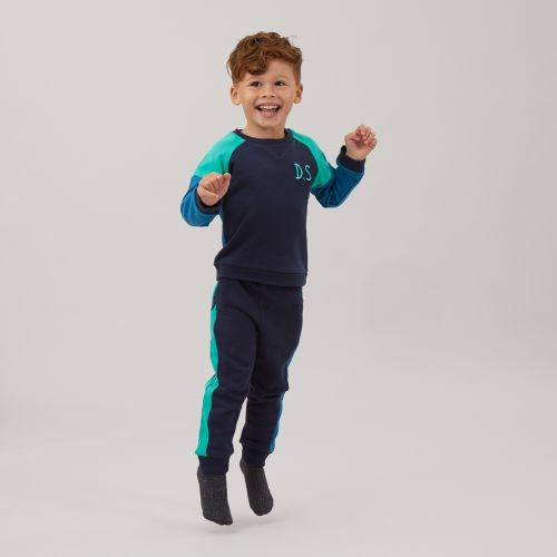 Personalised Blue Colour Block Tracksuit