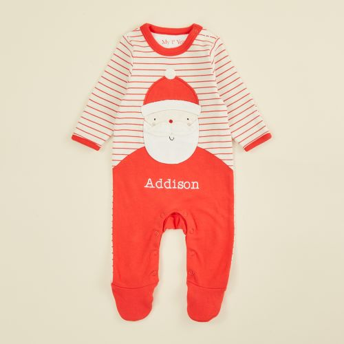 Personalised Red Striped Santa Claus Christmas Sleepsuit