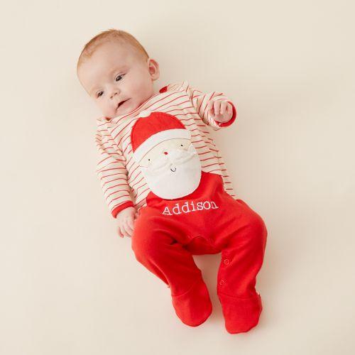 Personalised Red Striped Santa Claus Christmas Sleepsuit