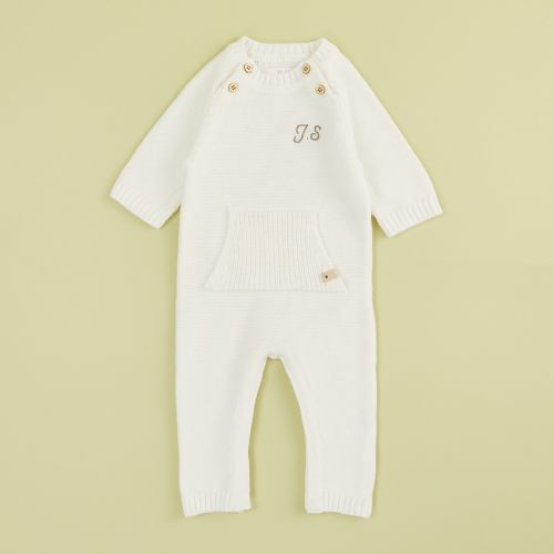 Personalised Oatmeal Knitted Romper