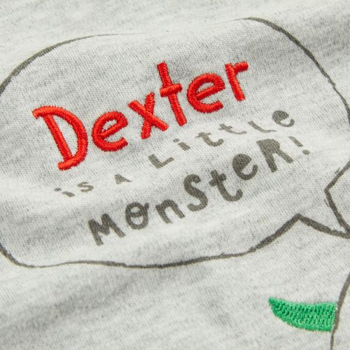 Personalised Grey Monsters Pyjama Set