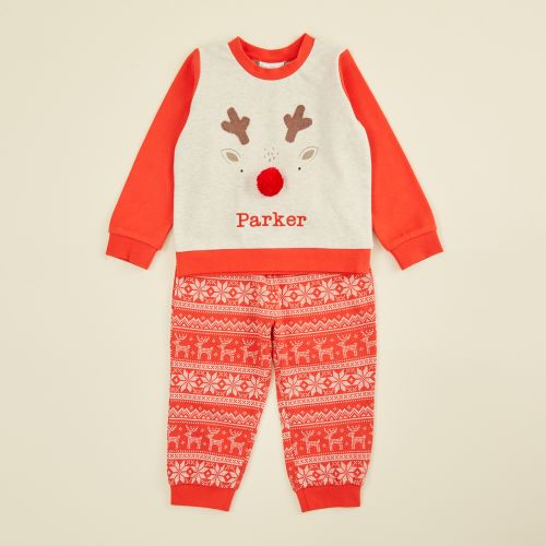 Personalised Red Reindeer Christmas Pyjama Set