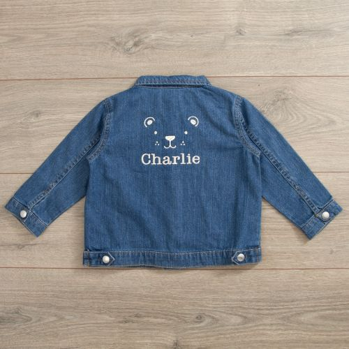 Personalised Bear Design Denim Jacket