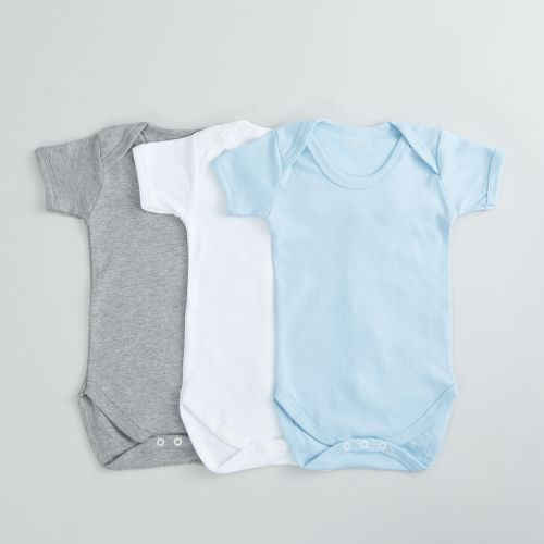 Pack of 3 White, Blue and Grey Bodysuits
