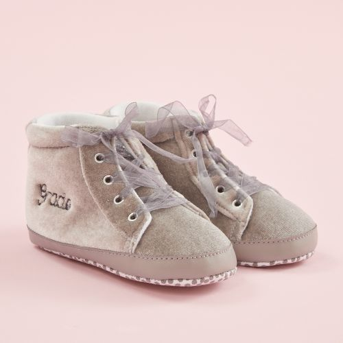 Personalised Grey Velvet High Top Baby Trainers