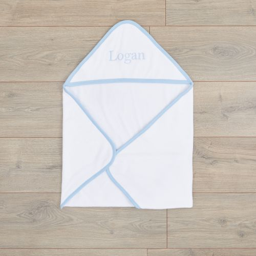 Personalised White Basic Hooded Towel With Blue Trim