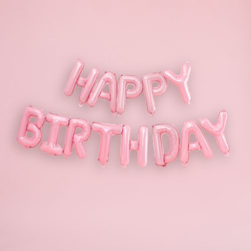 Ginger Ray Matte Pink Happy Birthday Balloon Bunting