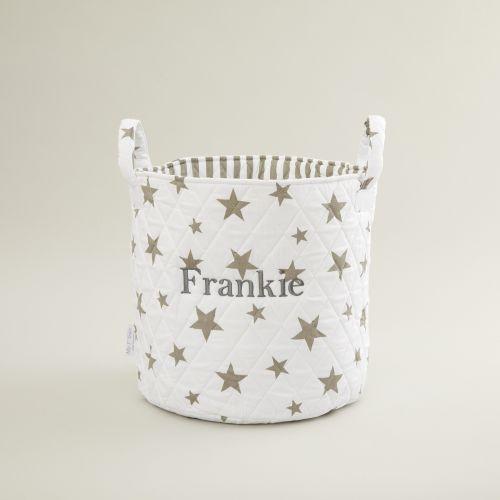 Personalised Medium White Star Storage Bag