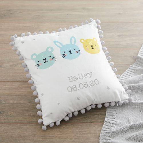 Personalised Furry Friends Pom Pom Cushion