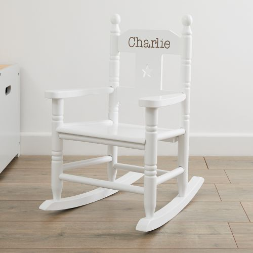 Personalised White Star Children's Rocking Chair
