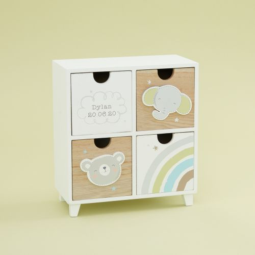 Personalised Bear and Elephant Baby Keepsake Drawers