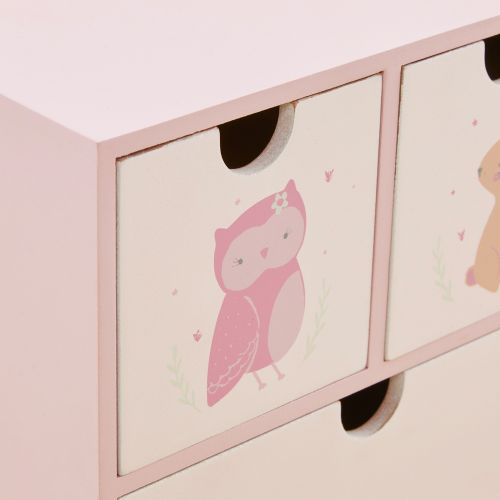 Personalised Pink Woodland Mini Keepsake Drawers