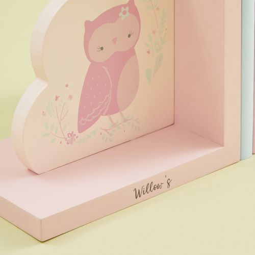Personalised Pink Woodland Wooden Bookends