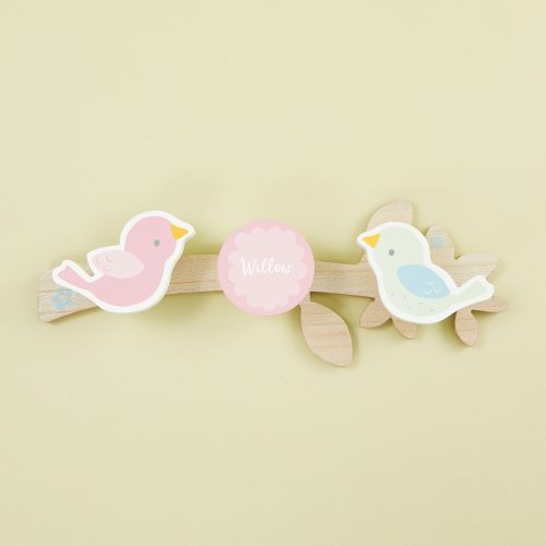 Personalised Pink Wooden Coat Hooks