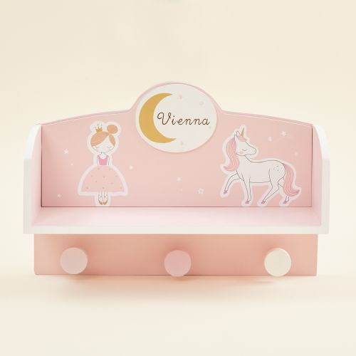 Personalised Fairytale Wooden Shelf with Hooks