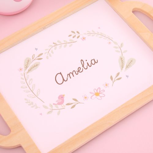 Personalised Pink Wooden Tea Set Toy