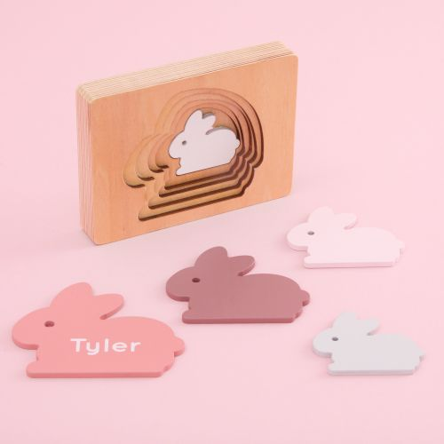 Personalised Pink Bunny Puzzle Toy